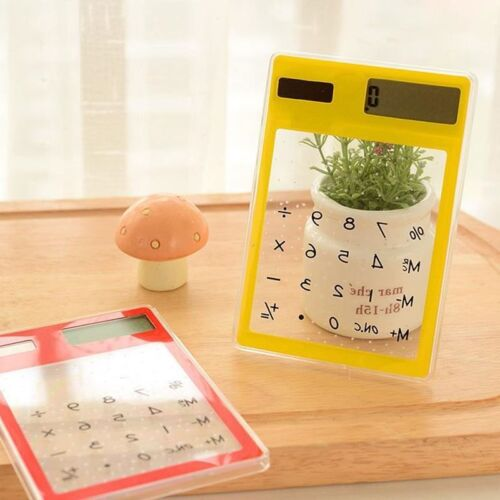 Solar Touch Screen LCD 8 Digit Electronic Transparent Calculator Portable NEW