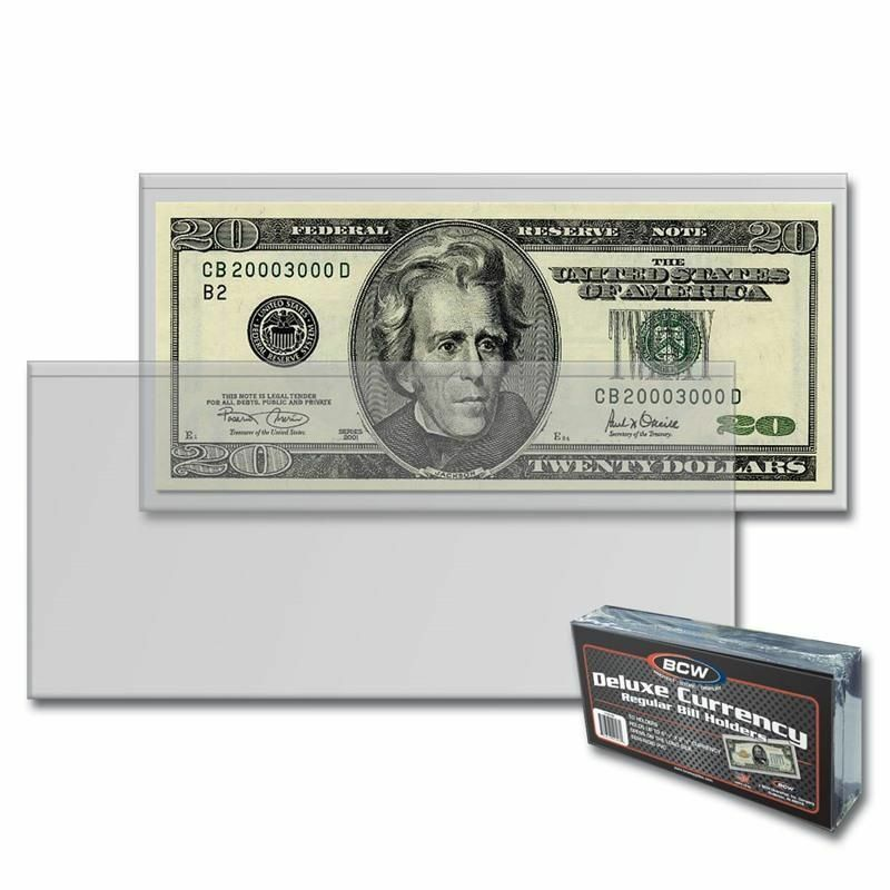 10 SEMI-RIGID Vinyl Money Protector Sleeve US Dollar Bill CURRENCY HOLDERS BCW