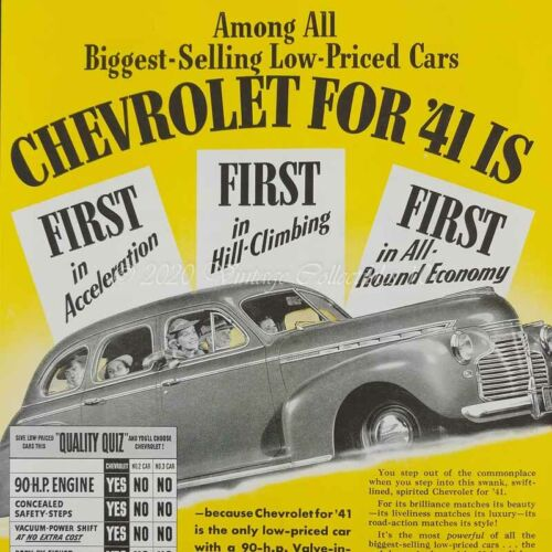 1941 Chevrolet 4-door Sedan Victory Engine car photo art decor vintage print ad