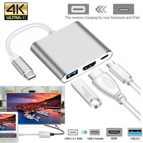 3 in 1 Type C USB 3.1 to USB-C 4K HDMI USB 3.0 Adapter Hub For Macbook Pro UK