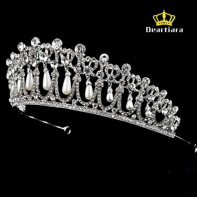 Deartiara Crystal Rhinestone Princess Diana Tiara Pearl Tear Drop Wedding Crown (Pearl Tiara)