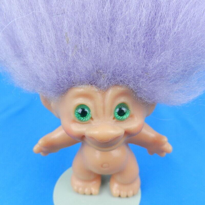 Vintage Dam Things Scandia House Troll Doll PURPLE Hair GREEN SPIRAL EYES 1960s