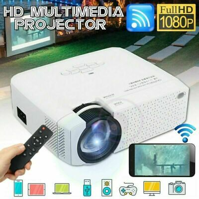 Full HD 1080P LED 3D Projector Mini Portable LCD Wifi USB 1800LM Home Cinema UK