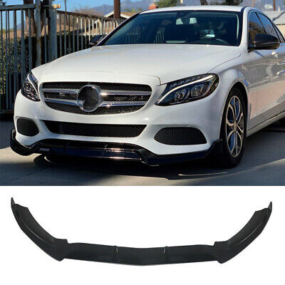 For 2015-19 Mercede Benz C Class W205 Base Front Bumper Lip Splitter Gloss Black