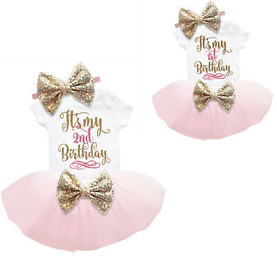 Baby Girl 1st 2nd Birthday Dress Cake Smash Outfit Sets Pink Gold Sequin Suits](Winter First Birthday)