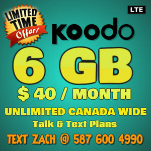 ⭐ LIMITED TIME FIRESHOT KOODO PLAN ~ 6GB / $40 ⭐ PEEL