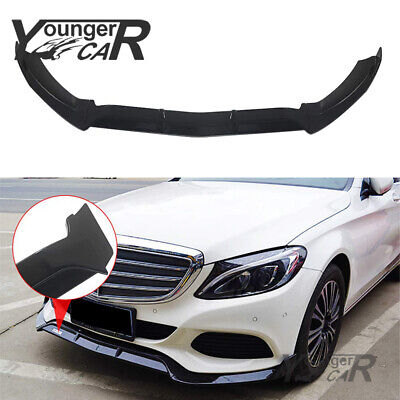 Front Bumper Lip For 2015-2019 Mercedes-Benz C-Class W205 Base ABS Gloss Black