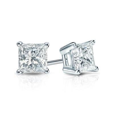 6MM Princess Cut Diamond Square Stud Earrings 14k White Gold VVS1 Mother's Day ()