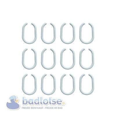 Duschvorhangringe 12 Stk. Duschvorhanghaken offen 50 x 30 mm Kunststoff weiß