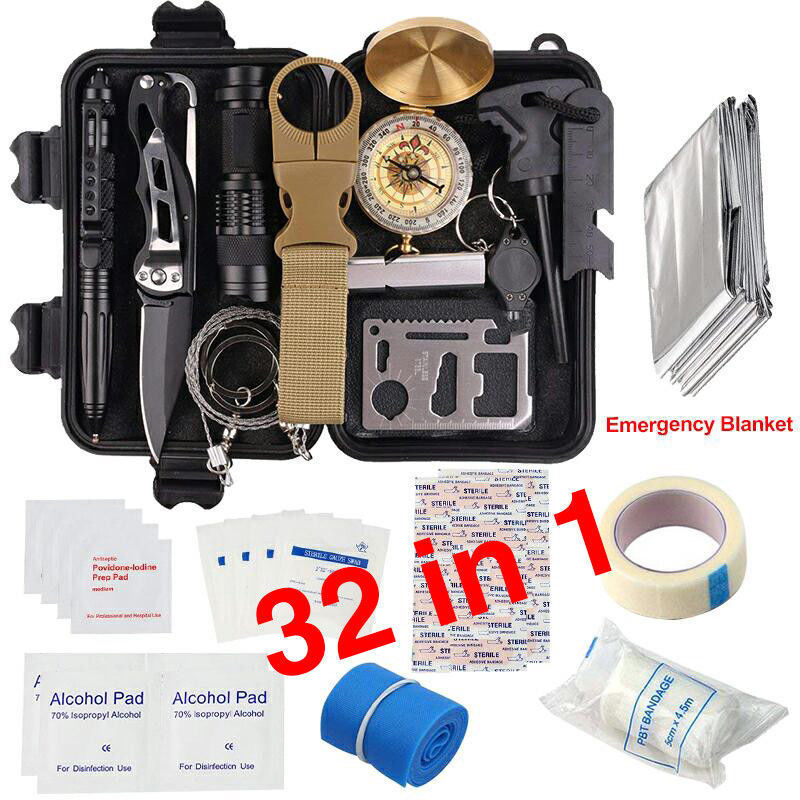 32 in 1 Emergency Camping Survival Equipment Kit Outdoor Tac