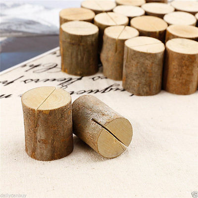 Bulk Rustic Wooden Place Photo Name Card Holder Stand Wedding Party Table Decor