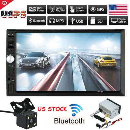 7\ HD Touch Screen Double 2DIN Car Stereo Player FM Bluetooth Radio Camera GPS