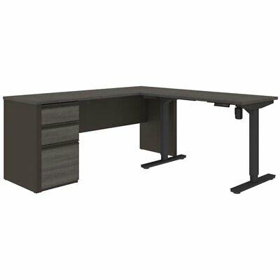 Bestar Prestige Plus 3 Piece Standing Desk Set In Bark Gray And Slate