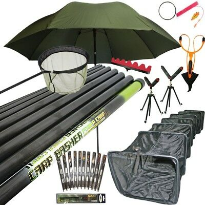 11m Pole Fishing Take Apart Pole Set. Rigs Tripods Rollers Brolly Keepnet. NGT
