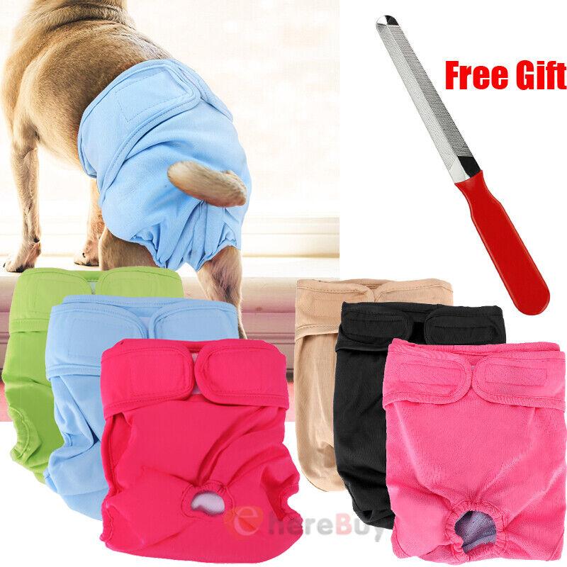 3Pack Dog Diaper Female Pet Pant Washable Puppy Dog Diapers S/M/L/XL Reusable