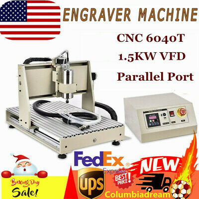 Cnc 6040t Engraver 3 Axis Router 3d Engraving Milling Machine 1.5kw Vfd Parallel