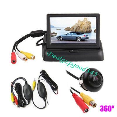 "4.3 ""LCD-faltbarer Monitor Kit + drahtlose 360º drehbare Auto-Rückfahrkamera"