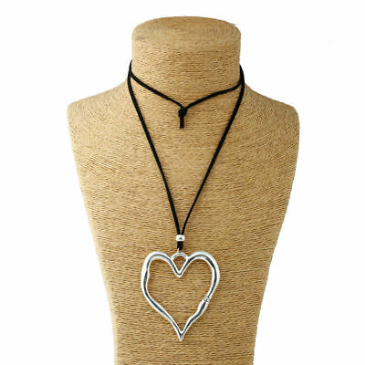 Abstract Heart Necklace - Antique Silver Abstract Statement Open Heart Pendant Long Suede Leather Necklace