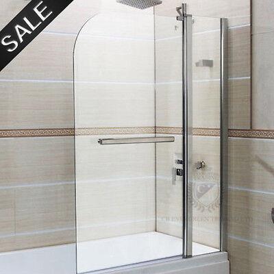 Tempered Glass Over Bath Shower Screen Wide Door Panel Handle 180° Pivot 6mm
