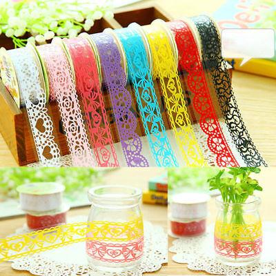 8Pcs Roll DIY Washi Paper Lace Decorative Sticky Paper Masking Tape Adhesive (Wholesale Washi Tape)