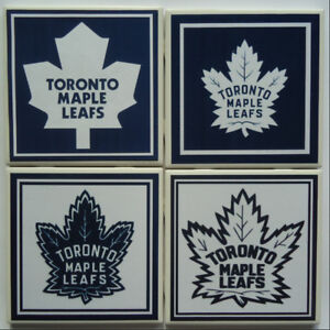 TORONTO MAPLES LEAFS PLUS ALL NHL HAND MADE DRINK COASTERS