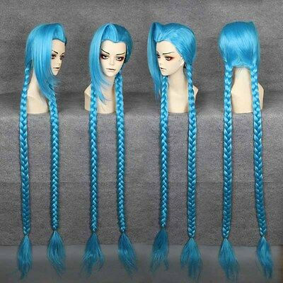 Cheap Blue Wigs (Hot new style Cheap long 130cm LOL-Jinx BLUE Cosplay Anime)