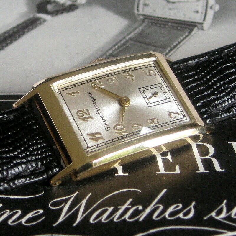 Mens 1940s Girard Perregaux 14K SOLID GOLD Hinged Case Art Deco 17j Swiss Watch - watch picture 1