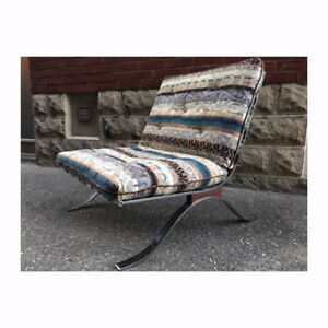 Chrome Steel & Rosewood Lounge Chair -  Modern/Teak/MCM Design