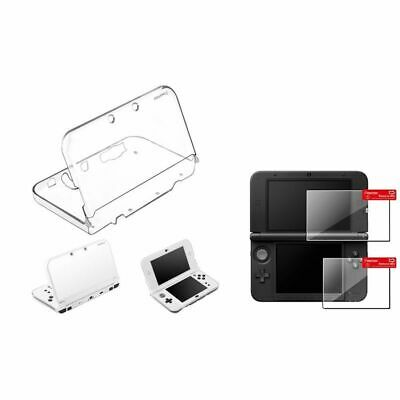 Crystal Clear Hard Case + 1 Set Top/ Bottom LCD Film For Nintendo NEW 3DS XL/LL