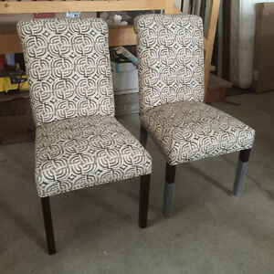 Four fabric dining table chairs