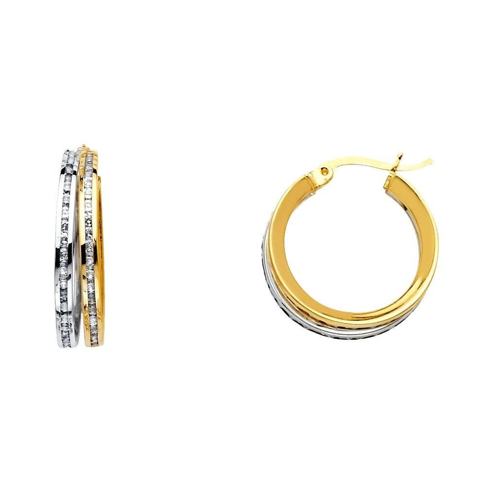 Hoop Earrings Real 14K Yellow White