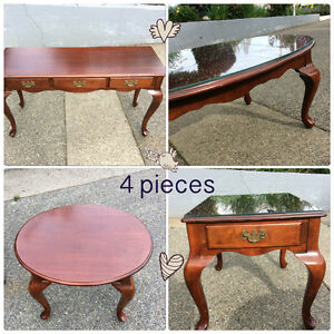4 pieces - wooden tables (2 have protective glass)