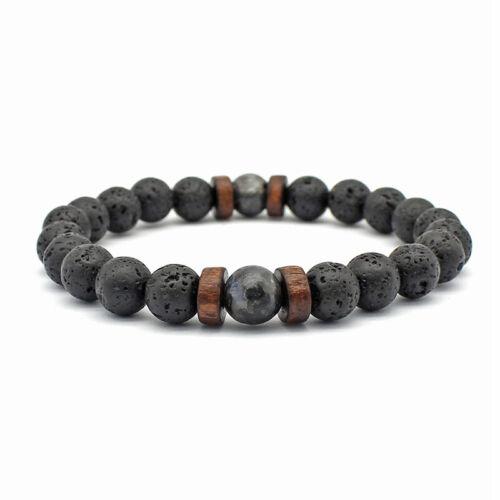 Men's Fashion Beads Lava Bangles Bracelet Wooden Bead Access
