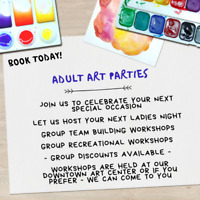 Book your holiday party at Sparkles n' Sawdust Art Center