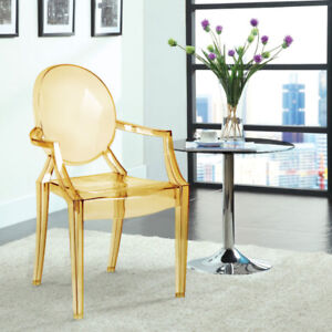 Efron Modern Ghost Chair  - Set of 2 - Transparent Yellow New