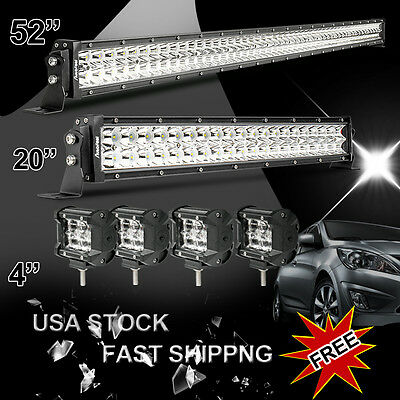 "52Inch LED Work Light Bar + 20in +4"" CREE PODS OFFROAD SUV 4WD ATV FORD JEEP 50"""