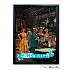 OLD ENGLISH TAVERN PUB SIGN POSTER PRINT | Home Bar | Man Cave | Pub Memorabilia