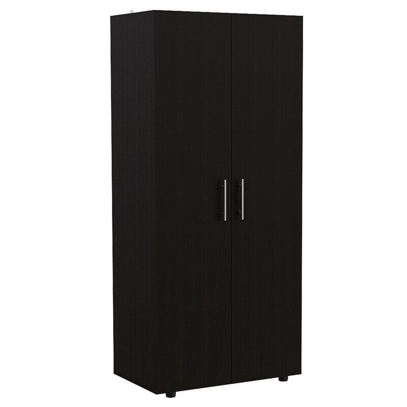 "Tuhome Black Contemporary Engineered Wood Furniture Tera 70"" 2 door armoire"