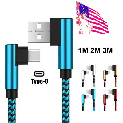US 3~10FT USB Type C 90° Degree Elbow Braid 2A Fast Charger Cable For Samsung S9 90 Degree Elbow Type