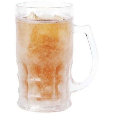 14oz Freezing Cold Gel BEER MUG Clear Frosty Stein Drinking Beverage Cup Handle - Clear Mugs