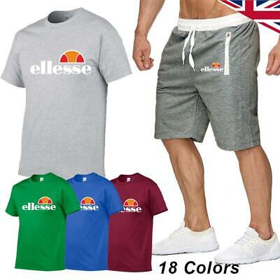 Ellesse Mens Tracksuit T-Shirt Shorts Set Short Sleeve Bottom Gym Summer Fitness