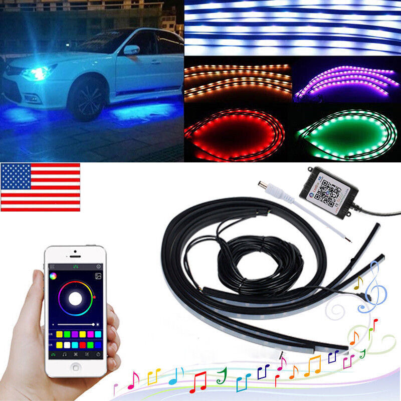 APP Control LED Strip Under Car Tube underglow Underbody System Neon Lights Kit