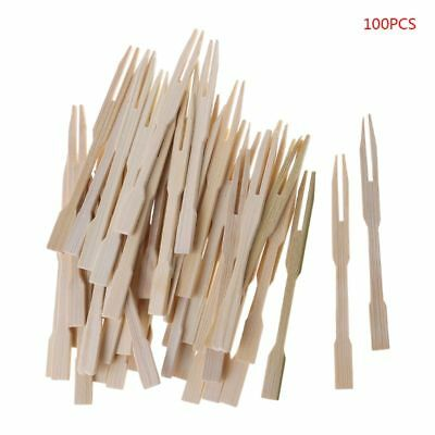 Disposable Bamboo Forks - 100Pcs Bamboo Disposable Wooden Fruit Fork Pick Dessert Forks Tableware Party