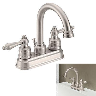 Two Handle High-Arc Bathroom Vanity Faucet Swivel Spout, Satin Nickel