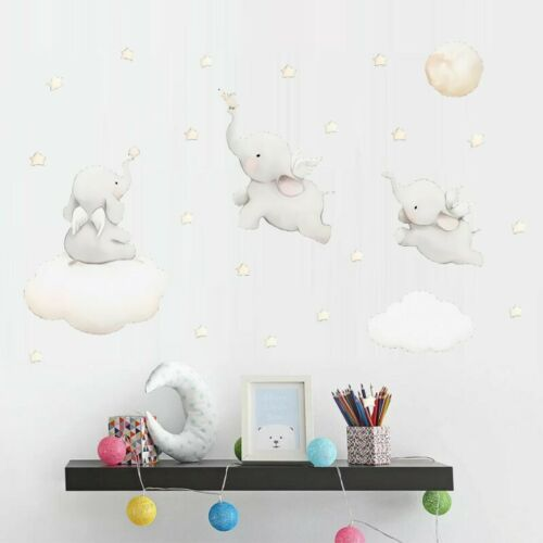 Flying Elephant Clouds Wall Sticker Baby Nursery Room Art Decal DIY Gift