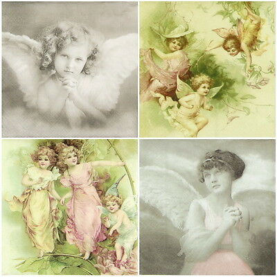 4x Paper Napkins for Decoupage Decopatch Sagen Vintage Angel -Mix