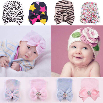 Newborn Baby Girls Toddler Stripe Hospital Cap Infant Comfy Bowknot Beanie Hat