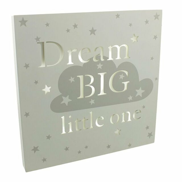 Bambino Baby Shower Light Up LED Nursery MDF Wall Plaque - Dream Big Little One