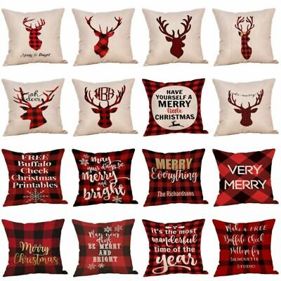 Christmas Xmas 18 Cover Case Gift Pillow Throw Merry Cushion Deer Red Plaid ()