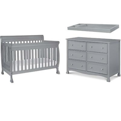 4-In-1 Crib Set with 6 Drawer Dresser and Removable Changing Tray in Gray